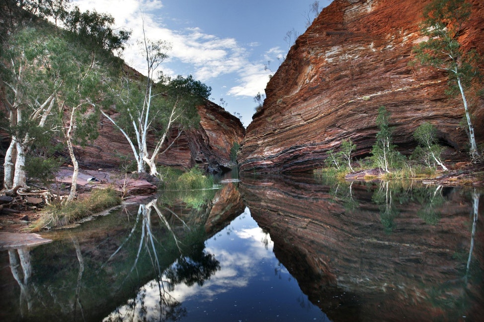 Hamersley Gorge - The quiet pools of Hamersley Gorge reflect the ancient rock walls encasing the areas beauty.