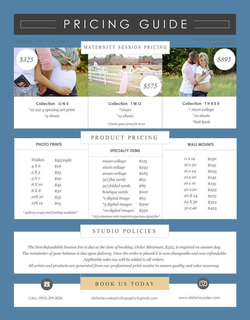 2017 maternity pricing