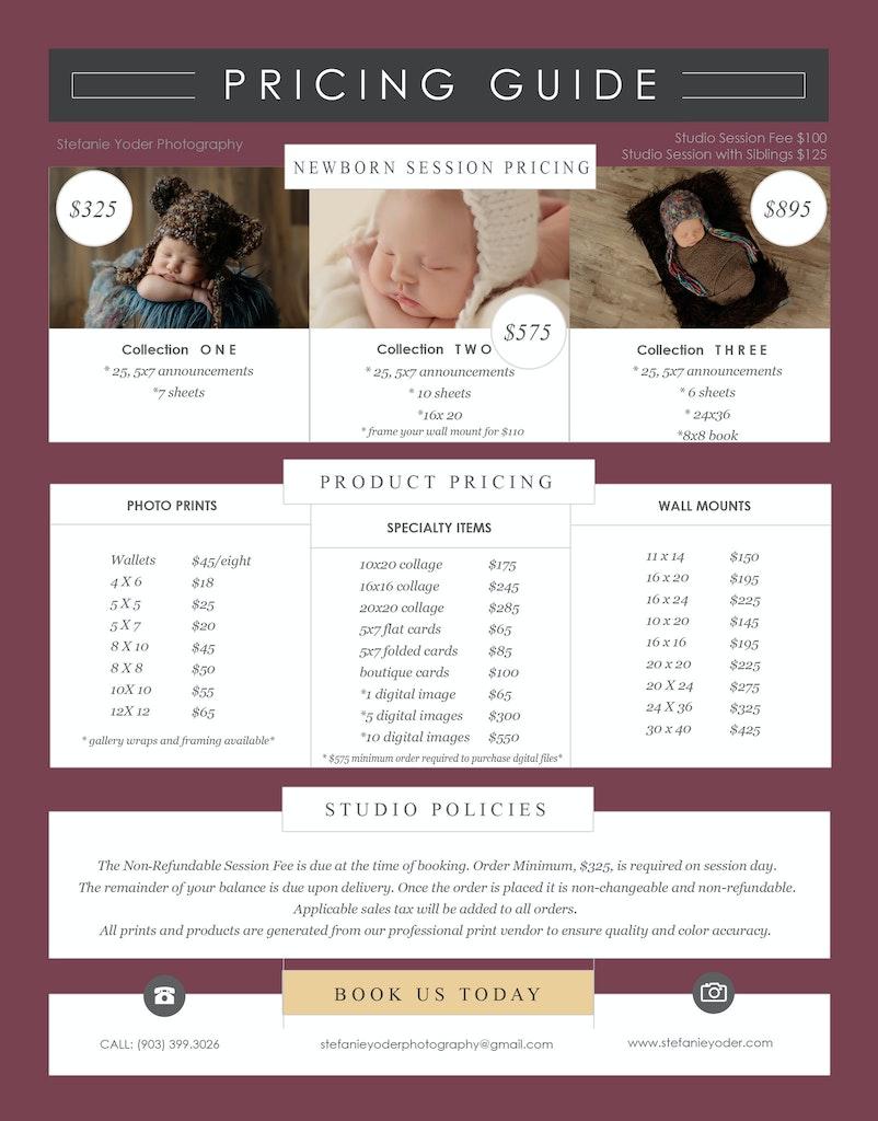 2017 newborn pricing