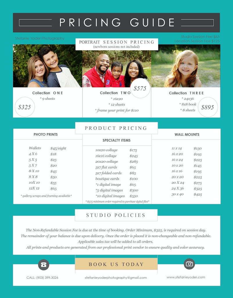 2017 portrait pricing
