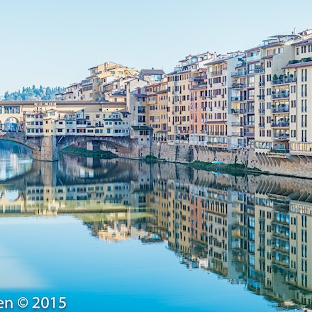 Ponte Vecchio with beautiful reflections - 3422-Pano-Edit