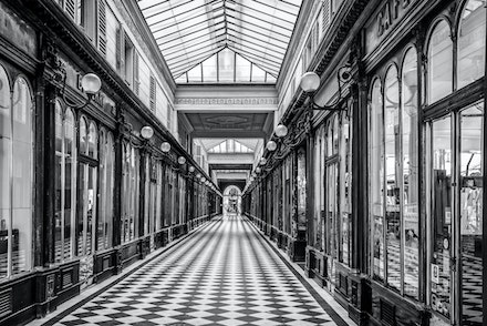 France 2013 Paris 251-5-Edit - One of the Grande arcades in Paris taken on an early wet Sunday morning