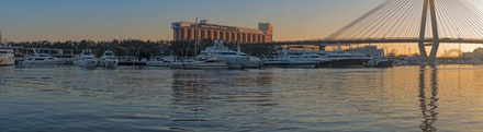 032 Rozelle Bay 220416-7771-Pano-Edit-Edit - Sunrise Rozelle Bay, Sydney with the old Power Station and the ANZAC bridge with Sydney Harbour bridge in...