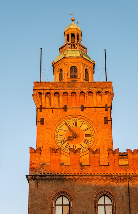 071 Bologna 201015-2182-Edit - The main clock over looking the Piazza Maggiore in Bologna, Italy