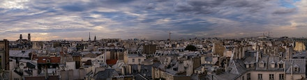142 - Paris - 6th - 26-09-16-0433-Pano-Edit - Paris sunset from the rooftop bar at the Holiday Inn, St Michel.