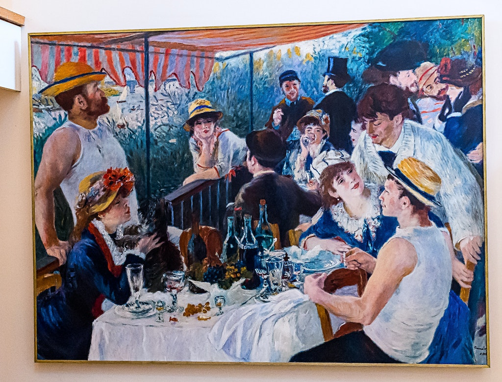 139 - Paris - Chatou - 25-09-16-0290-Edit - Renoir's famous painting - Le Déjeuner des canotiers - The Luncheon of the Boating Party painted at Restaurant...