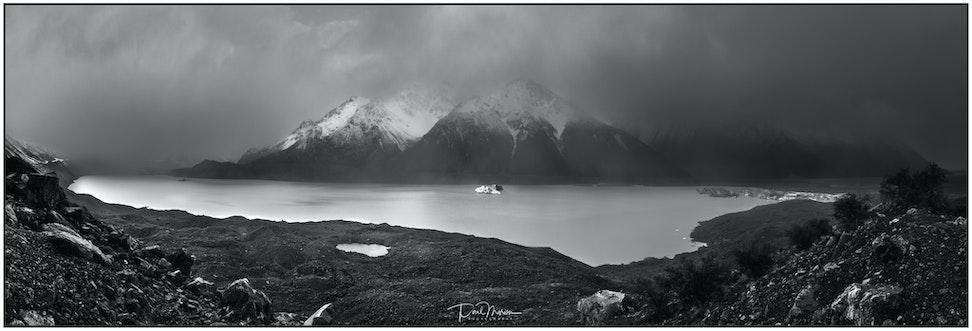 Tasman Glacier lake Pano B&W