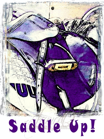 Saddle Up Purple - Wear your passion! Wearable art designed by JaniceO and printed in Queensland, Australia.