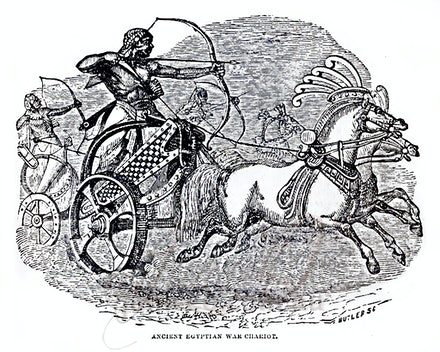 egyptian_war_chariot - This image is reproduced from a public domain publication, advertisement, or vintage print. It has been retouched.