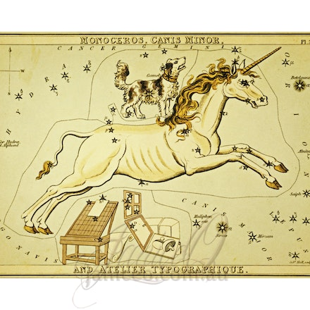 Monoceros-Large - This image is reproduced from a public domain publication, advertisement, or vintage print. It has been retouched.