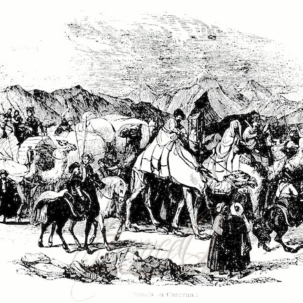caravan - This image is reproduced from a public domain publication, advertisement, or vintage print. It has been retouched.