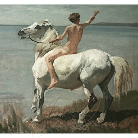 Boy on a Horse - Reproduction of a vintage work by Rudolf Koller.