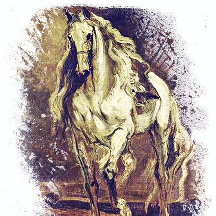A Grey Horse - Reproduction of a vintage work by Sir Anthony Van Dyck  titled Sketch of A Grey Horse