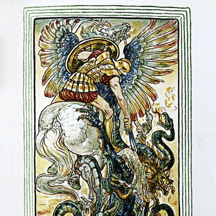 Bellerophon and the Chimera - This image is reproduced from a public domain publication, advertisement, or vintage print. It has been retouched.