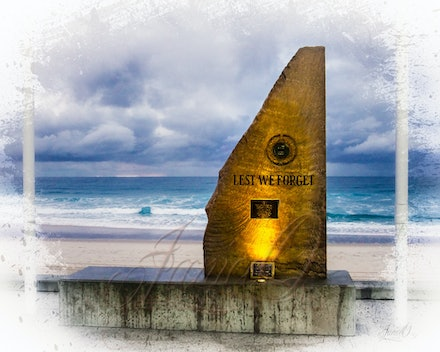 They left by sea - Memorial to our Anzacs on the beach at the Gold Coast