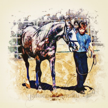 Be My Friend - 2 - An Arabian gelding and his friend, learning together. In the style of modern art, bright colours, hard lines, styling depth that captures...