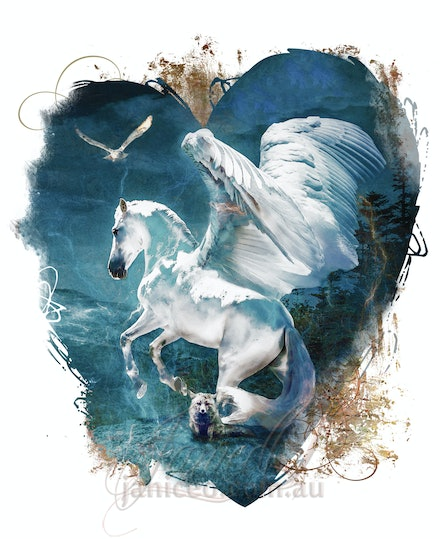 Flights of Fancy, My Winged White Horse - Hearts desire in a winged white stallion to soar above the world,  White owl flying by our side. My heart is...