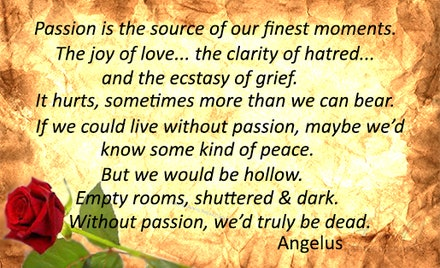 Passion - A quote from the script of the television series, Buffy the Vampire Slayer.