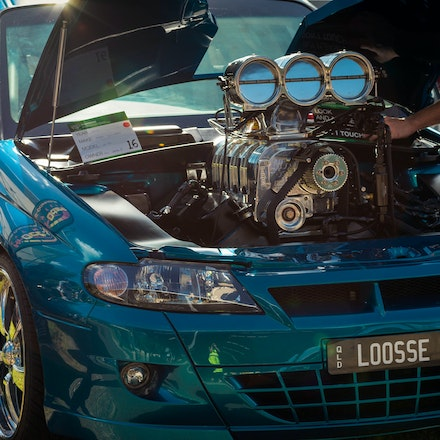 IMG_0009 - Showing off the supercharged power-plant that lives in the engine bay of this monster burnout ute