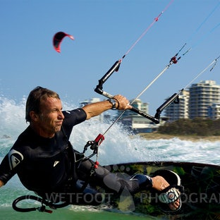 Kitesurf - Kitesurfing captured from various angles.  Both above and below the water.