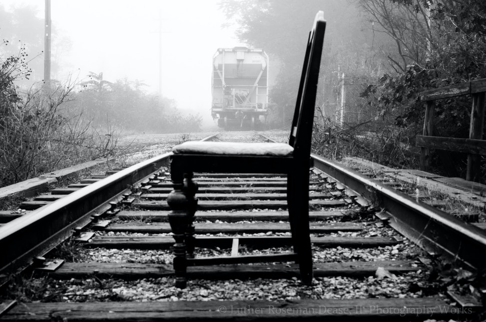 In Fog - On railroad tracks
