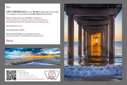 Gift Vouchers - Gift Vouchers for stretched 30x45cm, 50x75cm and 75x100cm canvas prints. The holder of the voucher will be able to order an image or their...