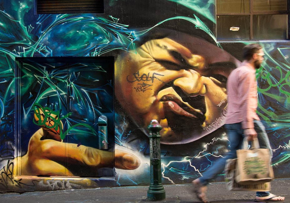 Hosier Lane Street Art - This photo was chosen by The Age newspaper as the banner to their Facebook / Melbourne Express news site