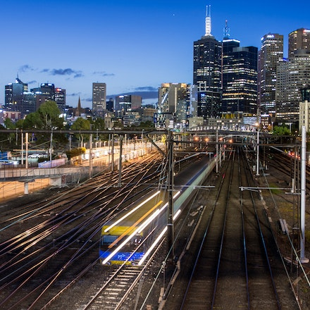 Train Heading out of Town - This photo was chosen by The Age newspaper as the banner to their Facebook / Melbourne Express news site