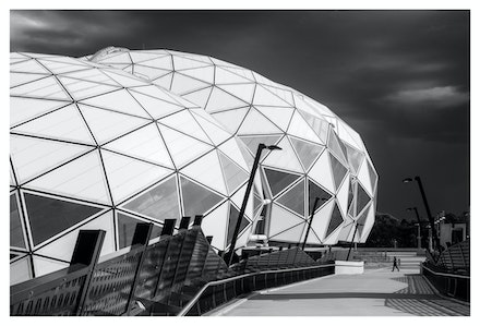 AAMI Park from Footbridge - A storm rolling in over AAMI Park, Melbourne. Priced from $15 for standard lustre print or $35 for museum grade paper print....