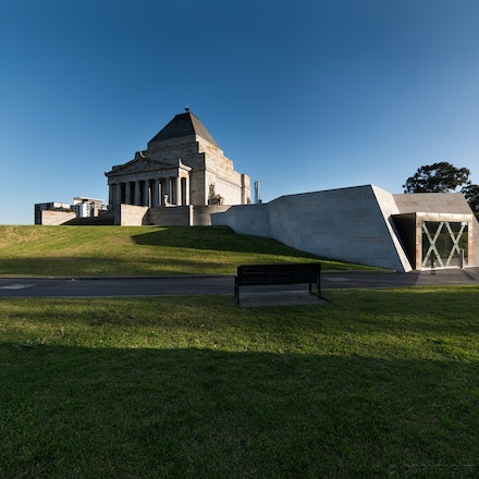 Shrine of Remembrance - The Shrine of Remembrance in Melbourne, with the Visitor Centre by ARM Architecture in the foreground