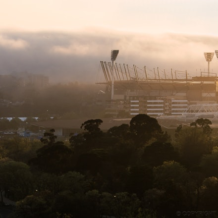 The MCG at Dawn - An early morning shot of the Melbourne Cricket Ground (MCG) taken in the week leading up to the AFL Grand Final