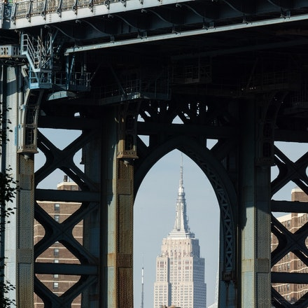 Manhattan Bridge - The Manhattan Bridge arch frames the Empire State Building in the background