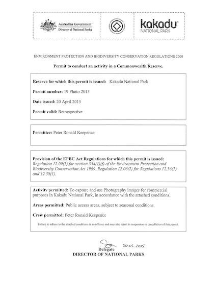 Peter Keepence Kakadu Permit