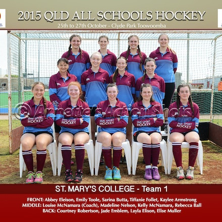 ALL SCHOOLS TEAM PHOTOS - QLD All Schools Hockey 2015 - Team Photos