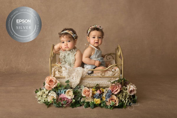 Amalia and Rosa Silver Award - award winning baby photographer