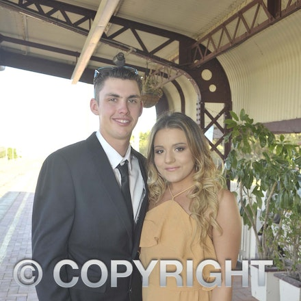 161118_SR24945 - Nathan Rose and Heidi McPhee at the Longreach State High School's Year 12 Formal photo call at the Railway Station, Friday November 18,...