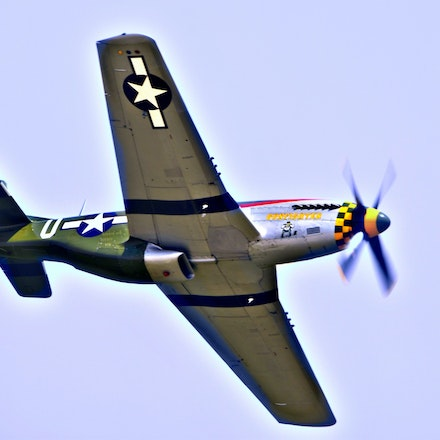 P-51   5.8.2016.10a - P-51. The North American P-51 Mustang, captured here during a Lincoln, NE air show, is one of the most famous fighter/bomber planes...