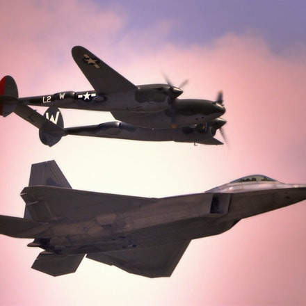 2 Ages of Air Power  5.8.2016.12 - 2 Ages of Air Power. The P-38 Lightning, also known as the fork-tailed devil flies alongside a modern F-22 Raptor at...