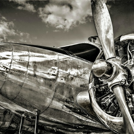 Silver Bird BW   6.1.2016.2 - Silver Bird BW. A World War II Beech C-45 Expeditor glistens under the summer sky at Ellsworth AFB in South Dakota. #airplanes...