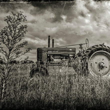Old Skool Power 9.7.2016.10 - Old Skool Power. A black and white tint lends a vintage air and harkens back to this tractor's glory days. Lancaster County,...