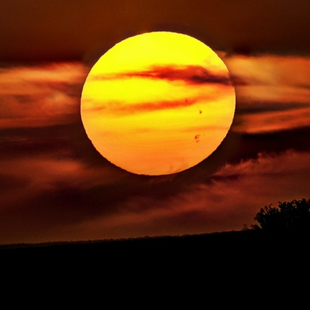 Big Orange Ball     9.6.2017.3 - Big Orange Ball. A late summer setting sun is bigger than life over rural Otoe County, Nebraska. #nebraska #sunset #farmsunset...