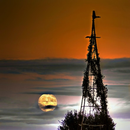 Harvest Moon 10.4.2017 - Harvest Moon. An October harvest moon and accompanying clouds cast an eerie glow over a Cortland, Nebraska farm. Lancaster County,...