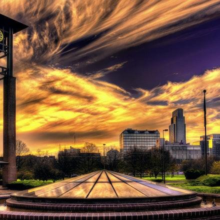 Dormant 11.22.2017.1 - Dormant. Swirling clouds filter a November sunset over the Conagra campus in Omaha, Nebraska.  #nebraska #sunset #omaha #architecture...