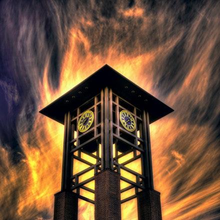 Enlightened Time  11.22.2017.4 - Enlightened Time. The Conagra clock tower stands majestic against a burning sky in Omaha, Nebraska. #nebraska #omaha #architecture...