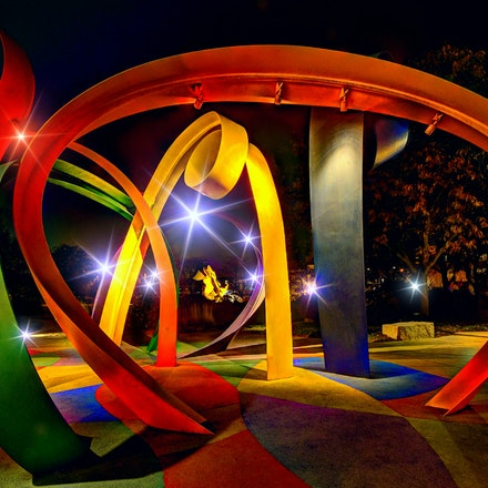 Ribbons  11.22.2017.7 - Ribbons. Discovery Garden is awash in color in this night shot at the Joselyn Art Museum in Omaha, Nebraska. #color #nebraska #omaha...