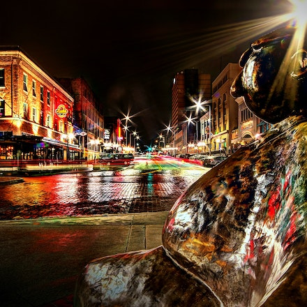 The Big Man 1.20.2018.2 - The Big Man. A view of North 8th Street from the vantage point of the Watchful Citizen sculpture in the Haymarket District. Lincoln,...