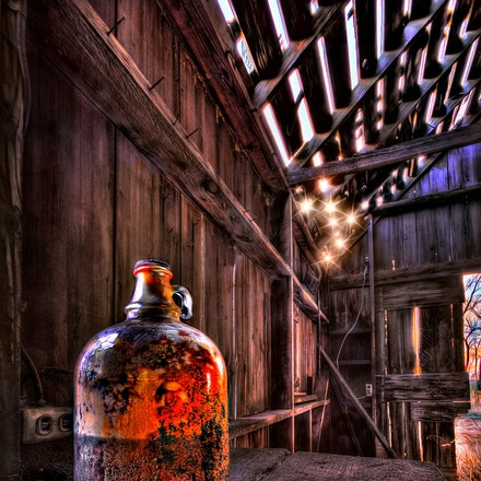 Brown Jug    2.15.2018.4 - Brown Jug. An old jug that has seen better days rests on a dusty shelf inside a Saline County, Nebraska barn. Crete, Nebraska....