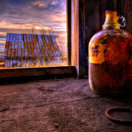 Jug in the Window 2.15.2018.3 - Jug in the Window. A forgotten jug rests inside an abandoned Lancaster County, Nebraska barn. #nebraska #lancastercounty...