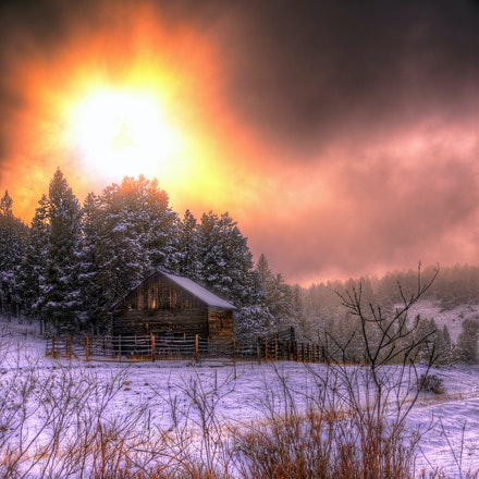 Winter Barn   4.21.2018.5 - Winter Barn. The setting late winter sun casts a soft pink glow over an old barn tucked away in Estes Park, Colorado. #pasture...