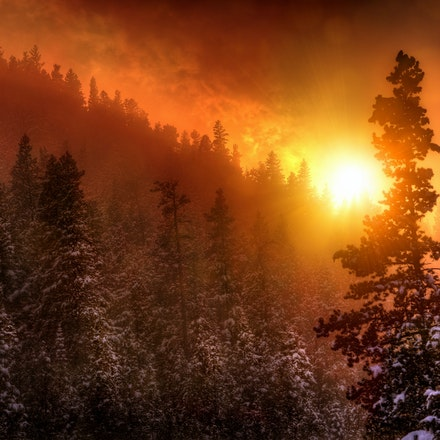 Fire on the Mountain 4.21.2018.6 - Fire on the Mountain. An intense April sunset appears to set the mountainside ablaze in Estes Park, Colorado. #sunset...